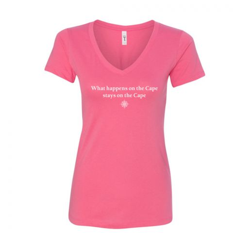 Women's What Happens On The Cape V-Neck Tee - Hot Pink