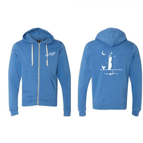 Lighthouse Zippered Hoody - Royal - Cape Cod