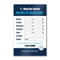 Hour of Operation Sign