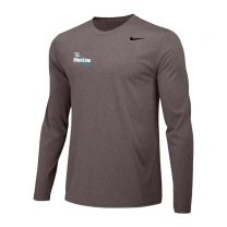 Carbon Heather Nike Long Sleeve Performance Tee